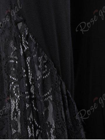 New Lace Insert High Waisted Bell Bottom Pants - 2XL BLACK Mobile