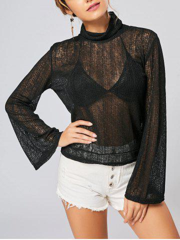 Open Back Lace Up Turtleneck Sheer Sweater - Black - S