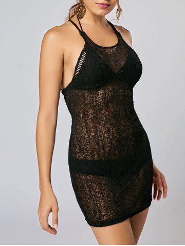 Latest Knitted Backless See Thru Mini Dress BLACK S