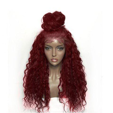 Buy Fluffy Curly Long Lace Frontal Synthetic Wig - WINE RED  Mobile