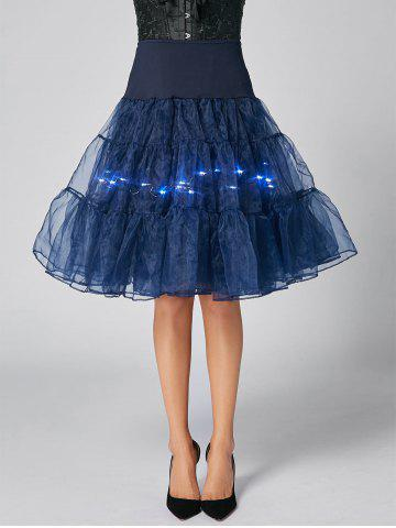 Unique Flounce Light Up Bubble Cosplay Skirt CERULEAN M