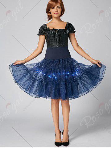 New Flounce Light Up Bubble Cosplay Skirt - CERULEAN L Mobile