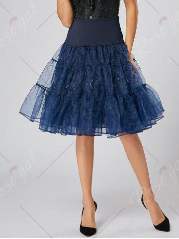 Cheap Flounce Light Up Bubble Cosplay Skirt - CERULEAN L Mobile