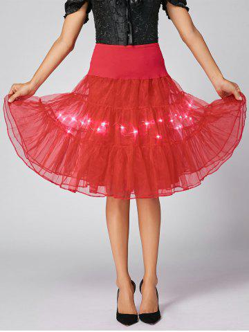 Affordable Flounce Light Up Bubble Cosplay Skirt - RED M Mobile