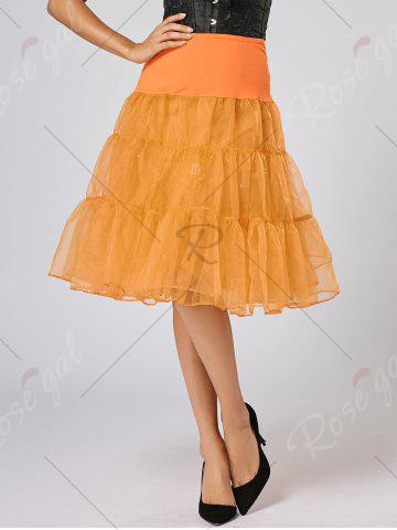 Chic Flounce Light Up Bubble Cosplay Skirt - ORANGE M Mobile
