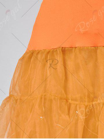 Fancy Flounce Light Up Bubble Cosplay Skirt - ORANGE M Mobile