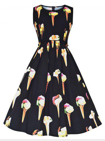 Fashion Vintage Ice Cream Print Fit and Flare Dress BLACK S
