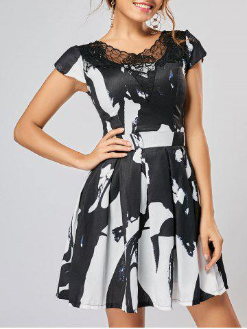 Lace Panel Ink Painting Fit and Flare Dress - Colormix - 2xl