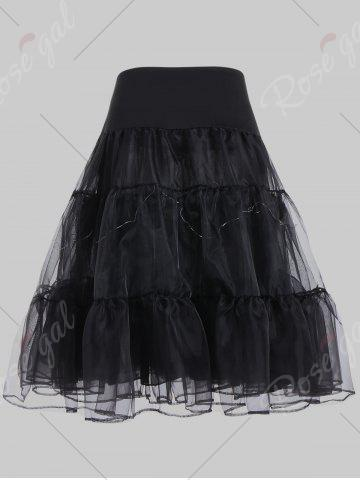 Affordable Plus Size Cosplay Light Up Party Skirt - 2XL BLACK Mobile
