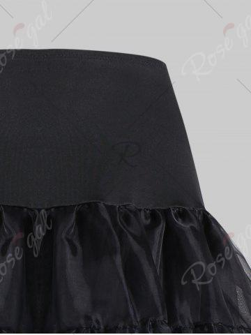 Affordable Plus Size Cosplay Light Up Party Skirt - BLACK 4XL Mobile