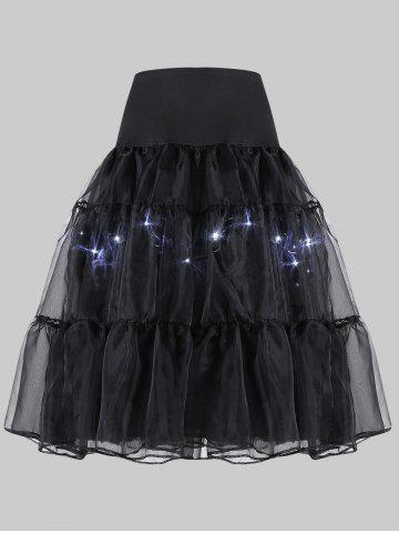Sale Plus Size Cosplay Light Up Party Skirt - BLACK 6XL Mobile