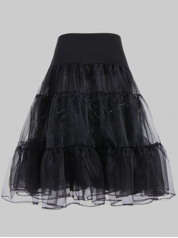 Chic Plus Size Cosplay Light Up Party Skirt - BLACK 6XL Mobile