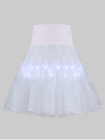 Best Plus Size Cosplay Light Up Party Skirt - LIGHT GRAY 5XL Mobile
