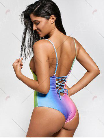 Affordable Colorful Ombre Backless One Piece Swimwear - S COLORMIX Mobile