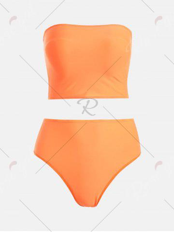 Latest High Waist Strapless Bandeau Bikini - S MANDARIN Mobile