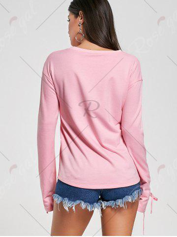 Online Crew Neck Lace Up Tee - L PINK Mobile