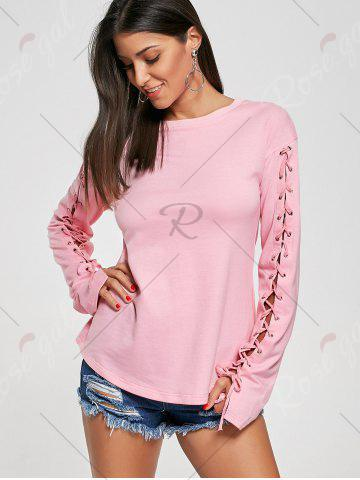 Buy Crew Neck Lace Up Tee - L PINK Mobile