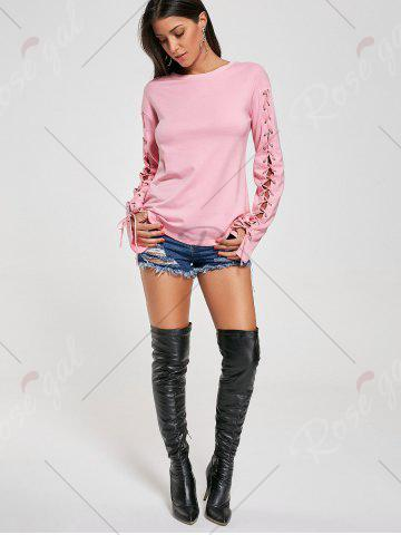 Latest Crew Neck Lace Up Tee - L PINK Mobile
