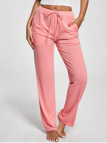 Fancy Vertical Pockets Drawstring Pants PINK M