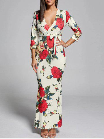 Unique Plunge Floral Fitted Maxi Sheath Dress - S OFF-WHITE Mobile