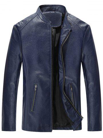 Zip Up Slim Fit Stand Collar PU Leather Jacket