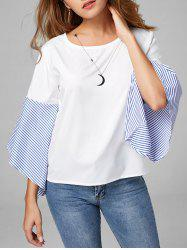Flare Sleeve Striped Color Block Blouse