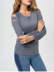 Casual Long Sleeve Distressed T Shirt