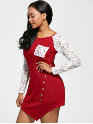 Lace Insert Raglan Sleeve Tunic Top