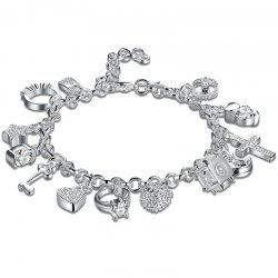 Cross Heart Moon Ball Charm Bracelet -