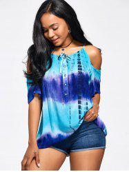 Tie-Dyed Print Ombre Cold Shoulder T-Shirt