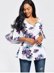 Flare Sleeve High Waist Floral Peplum Top