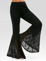 Lace Insert High Waisted Bell Bottom Pants - Noir