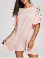 Cold Shoulder Lace Panel Shift Dress
