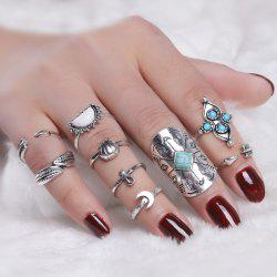 Crucifix Leaf Moon Arrow Finger Ring Set - SILVER
