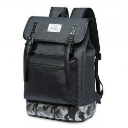 Camo Panel Buckle Straps Backpack