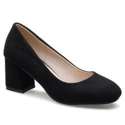 Block Heel Square Toe Pumps