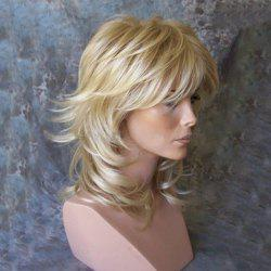 Medium Inclined Bang Tail Upwards Layered Slightly Curly Human Hair Wig - GOLDEN BROWN WITH BLONDE