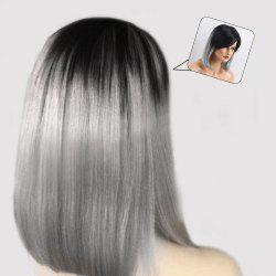 Medium Inclined Bang Ombre Straight Bob Human Hair Wig