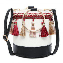 Color Block Tassel Bucket Bag