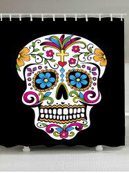 Skull Floral Waterproof Fabric Shower Curtain