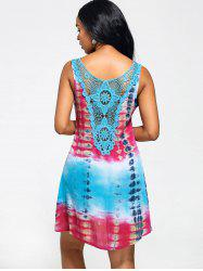 Lace Insert Tie-Dyed Sleeveless Tunic Dress - COLORMIX