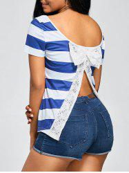 Lace Bowknot Slit Back Stripe T-Shirt -