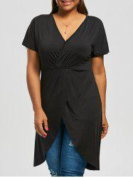 Plus Size Long V Neck Front Slit Top