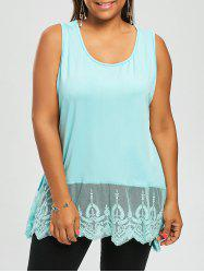 Voile Trim Plus Size Tunic Tank Top