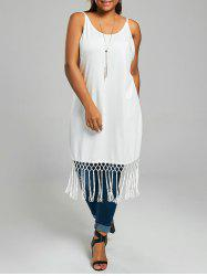 Plus Size Long Cami Top with Tassel Trim