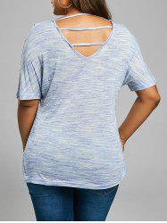 Plus Size Back Cutout  V Neck T-shirt