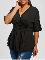 V Neck Plus Size Dressy Peplum T-shirt - BLACK