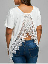 Plus Size Back Lace Insert Slit T-shirt