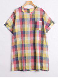 Plus Size Colorful Plaid  Tunic Top
