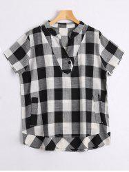 V Neck Checked Plus Size Shirt